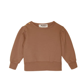 GO GENTLY NATION GIRLS PLEATED SLEEVE SWEATSHIRT- CLAY