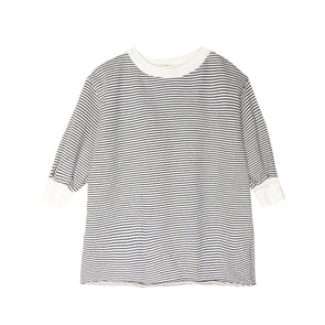 GO GENTLY NATION GIRLS PUFF SLEEVE DRESS- NAVY/NATURAL STRIPE