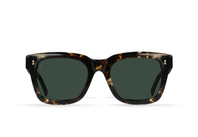 RAEN GILMAN SQUARE SUNGLASSES - BRINDLE TORTOISE/ GREEN