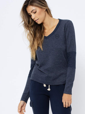 SOL ANGELES WOMENS ASH THERMAL V-NECK LONG SLEEVE- INDIGO