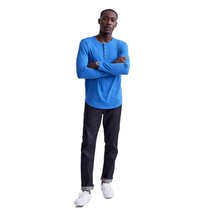 GOODLIFE MEN'S LONG SLEEVE SCALLOP HENLEY - STRONG BLUE