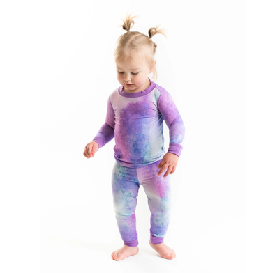 LITTLESLEEPIES PAJAMA TWO-PIECE SET- PURPLE WATERCOLOR BAMBOO VISCOSE