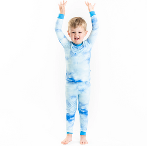 LITTLESLEEPIES PAJAMA TWO-PIECE SET- BLUE WATERCOLOR BAMBOO VISCOSE