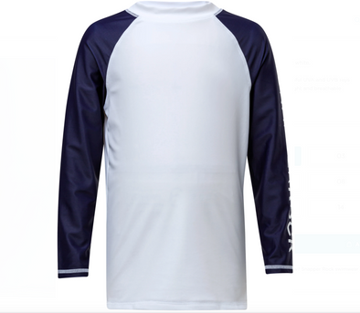 SNAPPERROCK WHITE NAVY SLEEVE LS RASH TOP