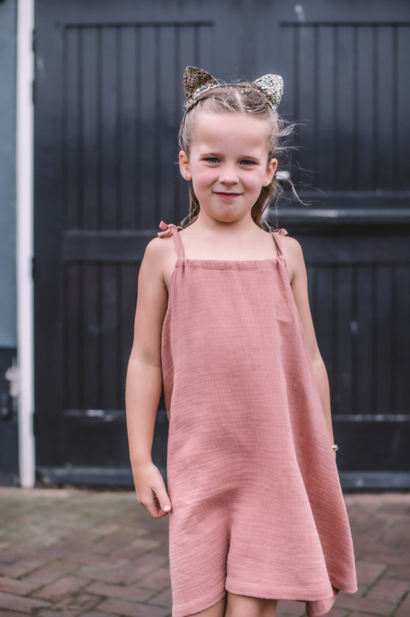 KIDS ON THE MOON STRAP DRESS- CORAL CLOUD