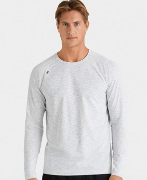 RHONE REIGN LONG SLEEVE SHIRT - LIGHT GREY HEATHER