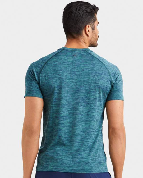 RHONE REIGN TECH SHORT SLEEVE - MALLARD GREEN/NAVY HEATHER