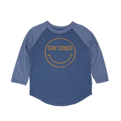 FEATHER 4 ARROW- STAY STOKED L/S RAGLAN | NAVY