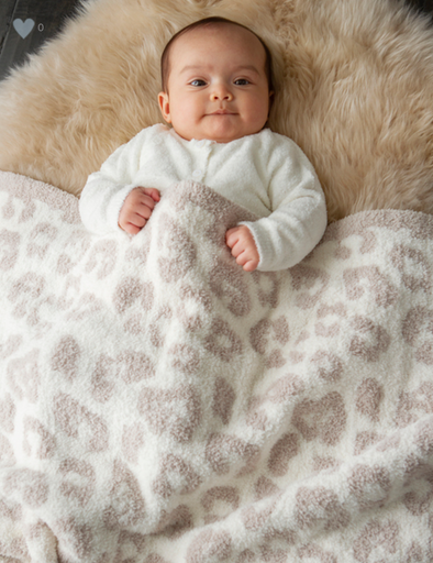 BAREFOOT DREAMS THE COZYCHIC® BAREFOOT IN THE WILD BABY BLANKET- STONE | CREAM