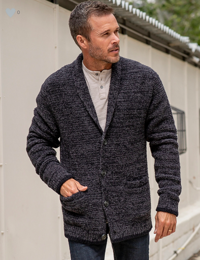 BAREFOOT DREAMS THE COZYCHIC LITE® MEN'S SHAWL COLLAR CARDIGAN- CARBON | BLACK