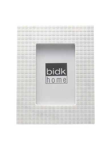 BIDKHOME MARBLE CHECKERED PICTURE FRAME 5IN X 7IN- WHITE