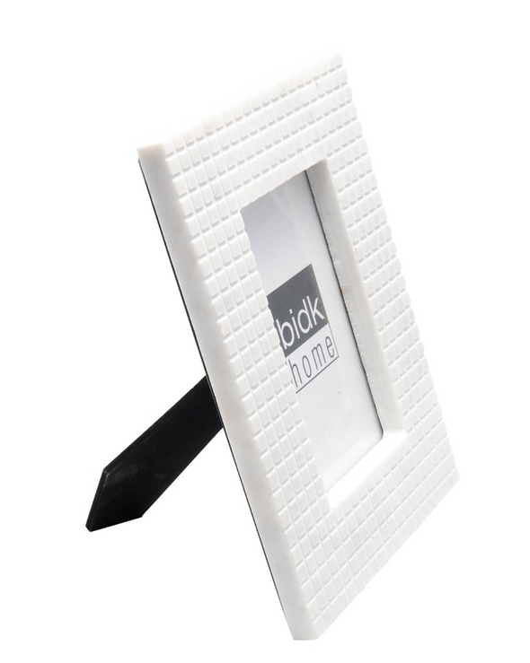 BIDKHOME MARBLE CHECKERED PICTURE FRAME 4IN X 6IN- WHITE