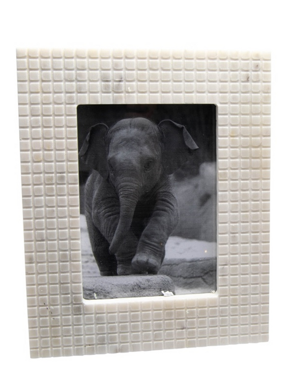 BIDKHOME MARBLE CHECKERED PICTURE FRAME 8IN X 10IN- WHITE