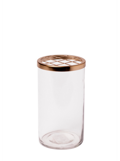 BIDKHOME MED. GLASS & BRASS FLOWER CYLINDER H6.25''- CLEAR & GOLD