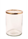 "BIDKHOME LG GLASS & BRASS FLOWER CYLINDER H9"" - CLEAR & GOLD"