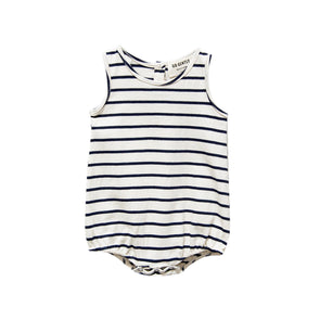 GO GENTLY NATION PRINTED JERSEY ONESIE- NAVY STRIPE