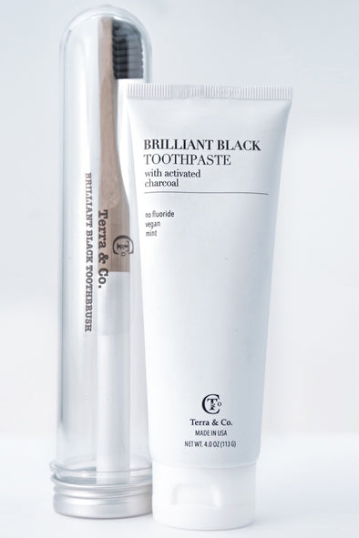 TERRA & CO. BRILLIANT BLACK TOOTHPASTE SET