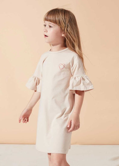 KIDS ON THE MOON RUFFLE DRESS- AFTERGLOW