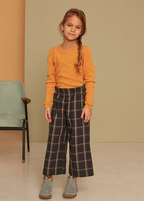 KIDS ON THE MOON PLAID CULOTTES - ANTHRACITE