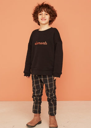 KIDS ON THE MOON PLAID JOGGERS - ANTHRACITE