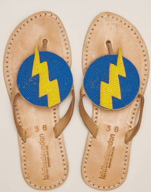 LAIDBACK LONDON BLITZ FLAT LEATHER SANDAL- DENIM BLUE W/ YELLOW LIGHTING BOLT