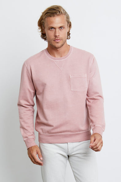 RAILS MEN'S BURKE SWEATSHIRT - DUSTY ROSE