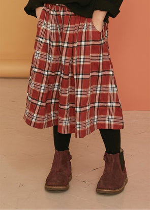 KIDS ON THE MOON PLAID FLOUNCE SKIRT - CARMINE