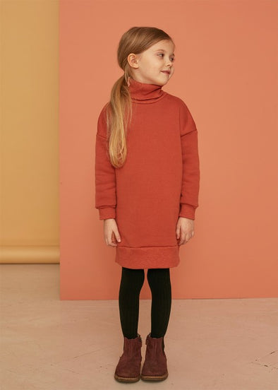 KIDS ON THE MOON TURTLENECK SWEATDRESS - CLAY
