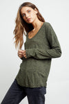RAILS WOMEN'S COLBY LONG SLEEVE T-SHIRT - OLIVE MINI SPOTTED
