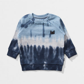 MUNSTERKIDS DRIBBLE INFANT BLUE/BLACK TIE DYE CREW
