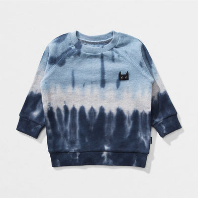 MUNSTERKIDS DRIBBLE INFANT BLUE/BLK TIE DYE CREW