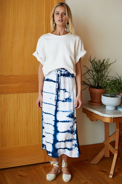 EMERSON FRY INDIA COLLECTION DRAWSTRING SKIRT - TIE DYE INDIGO