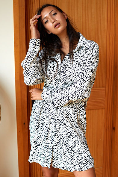 EMERSON FRY INDIA COLLECTION SHIRTDRESS- BLACK & WHITE CHEETAH