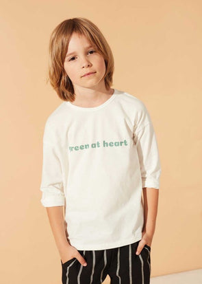 KIDS ON THE MOON 3/4 SLEEVE TOP - GREEN AT HEART