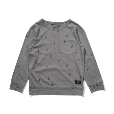 MUNSTERKIDS TRICKS L/S TEE - WASHED CHARCOAL
