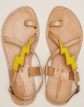 LAIDBACK LONDON ICINI FLAT BACK STRAP LEATHER SANDAL- LIGHT BROWN & YELLOW