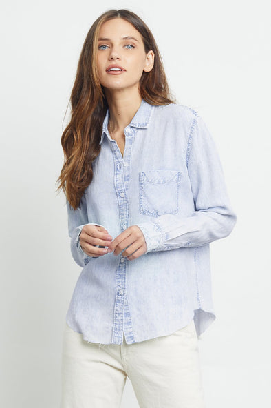 RAILS WOMENS INGRID RAW DENIM SHIRT - LIGHT ACID WASH