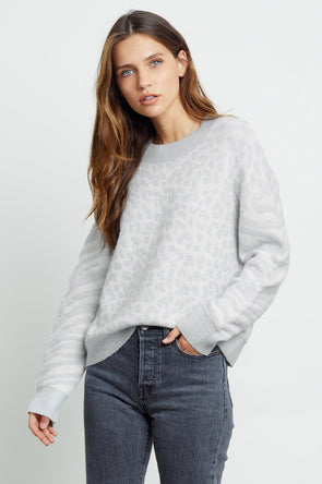 RAILS WOMEN'S LANA SWEATER - IVORY GREY MIXED ANIMAL