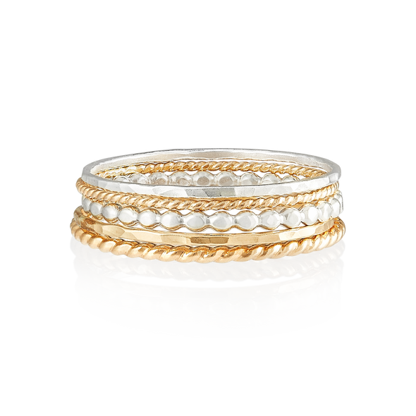 PHYLLIS & ROSIE MIXED RING STACK- 14K YELLOW GOLD FILLED