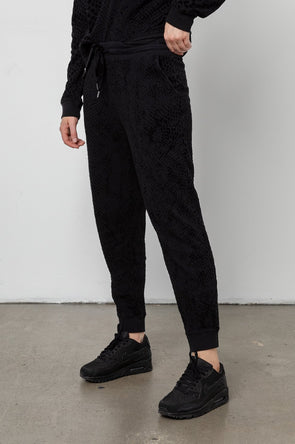 RAILS WOMENS OAKLAND FLOCKED SWEATPANTS - BLACK COBRA