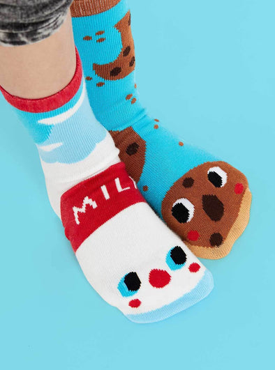 PALS SOCKS KIDS COLLECTIBLE MISMATCHED SOCKS- MILK & COOKIES