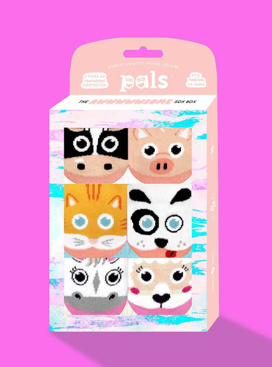 PALS SOCKS KIDS THREE MISMATCHED SOCKS SETS GIFT BOX- AWWWWSOME