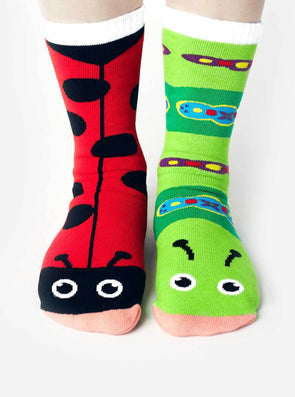 PALS SOCKS KIDS COLLECTIBLE MISMATCHED SOCKS- LADYBUG & CATERPILLAR