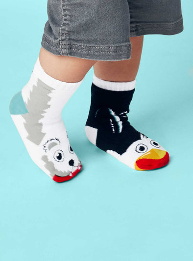 PALS SOCKS KIDS COLLECTIBLE MISMATCHED SOCKS- POLAR BEAR & PENGUIN