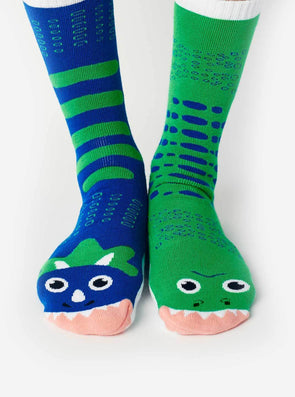 PALS SOCKS ADULTS COLLECTIBLE MISMATCHED SOCKS- T-REX & TRICERATOPS