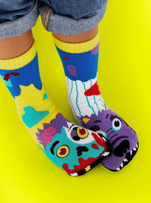 PALS SOCKS KIDS COLLECTIBLE MISMATCHED SOCKS- ZOMBIE & WEREWOLF PALS