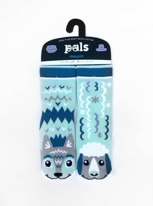 PALS SOCKS KIDS COLLECTIBLE MISMATCHED SOCKS- WOLF & SHEEP