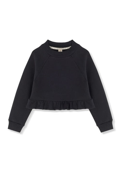 KIDS ON THE MOON FRILL SWEATSHIRT - PEBBLE