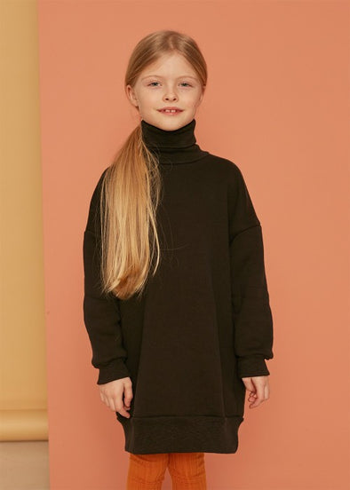 KIDS ON THE MOON TURTLENECK SWEATDRESS - PEBBLE