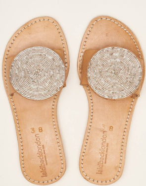 LAIDBACK LONDON REMI LOW PROFILE SLIDE- LIGHT BROWN & SILVER